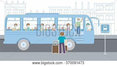 People In Blue Mask Traveling By Bus With Seats With No Sitting Sign. Respecting Social Isolation, S