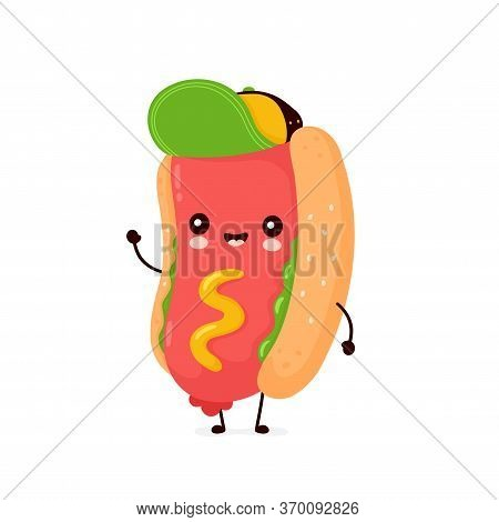 Cute Happy Smiling Hot Dog. Vector Flat Cartoon Character Illustration Icon Design.isolated On White