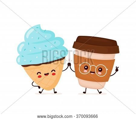 Cute Happy Smiling Ice Cream Cone And Coffee Cup. Vector Flat Cartoon Character Illustration Icon De