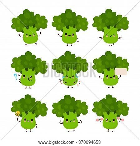 Cute Happy Smiling Broccoli Vegetable Set Collection. Vector Flat Cartoon Character Illustration Ico