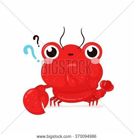 Cute Happy Smiling Lobster With Question Marks. Vector Flat Cartoon Character Illustration Icon Desi
