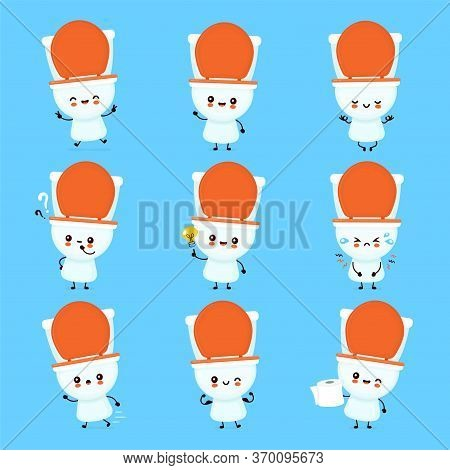 Cute Happy Smiling Toilet Bowl Set Collection. Vector Flat Cartoon Character Illustration Icon Desig