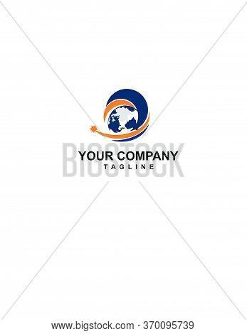 Elegant Globe World Map Logo For Plane Or Air Transportation Logo And Vector Icon