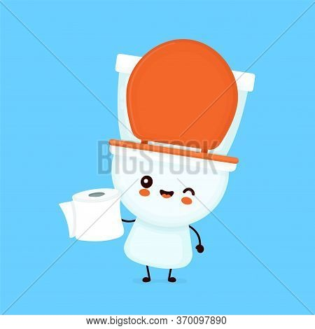 Cute Happy Smiling Bowl Hold Toilet Paper. Vector Flat Cartoon Character Illustration Icon Design. W