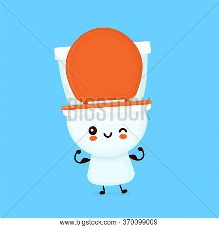 Cute Happy Smiling Toilet Bowl Show Muscle. Vector Flat Cartoon Character Illustration Icon Design.