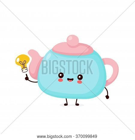 Cute Happy Smiling Teapot With Light Bulb. Vector Flat Cartoon Character Illustration Icon Design.is