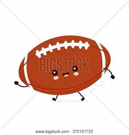 Cute Happy American Football Rugby Ball Run. Vector Flat Cartoon Character Illustration Icon Design.