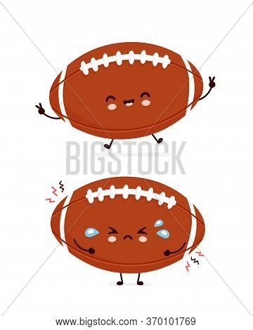 Cute Happy And Sad American Football Rugby Ball. Vector Flat Cartoon Character Illustration Icon Des