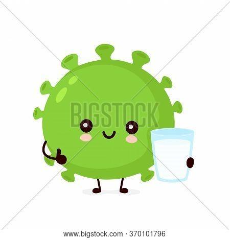 Cute Happy Good Probiotic Bacteria With Yogurt. Vector Flat Cartoon Character Illustration Icon Desi