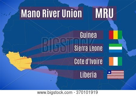 Vector Map And Flags Of The Mano River Union (mru).