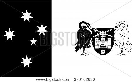 Flag Of Australian Capital Territory. Black And White Eps Vector File.