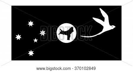 Flag Of The Territory Of Christmas Island Australia. State Flag Australia. Black And White Eps Vecto