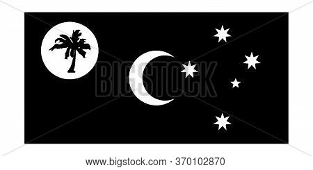 Flag Of The Territory Of Cocos (keeling) Islands Australia. Black And White Eps Vector File.