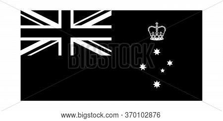 Flag Of Victoria Vic State Australia. Victoria State Flag Australia. Black And White Eps Vector File