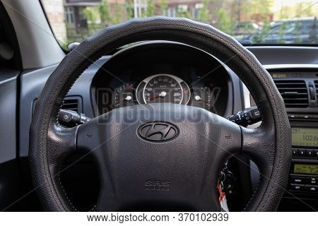 Novosibirsk/ Russia - May 12, 2020:  Hyundai Tucson,auto Interior: Steering Wheel With Red Logo  Hyu