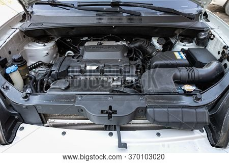 Novosibirsk/ Russia - May 12, 2020:  Hyundai Tucson, Close Up Of A Clean Motor Block. Internal Combu