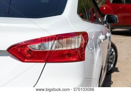 Novosibirsk/ Russia - May 03 2020:  Ford Focus,  White Car Taillight. Exterior Detail. Close Up Deta