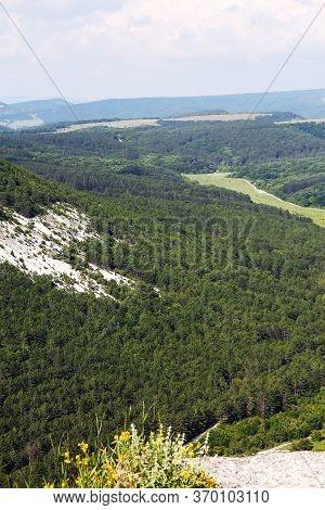 Landmark Of Crimea. Beautiful Sunny Landscape Of Crimea In Summer. Scenery Of Nature Of Southern Cri