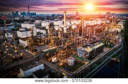 Aerial View Oil Refinery, Refinery Plant, Refinery Factory At Sunset, Shot From Drone Of Oil Refiner