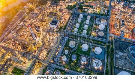Aerial View Of Oil And Gas Industry - Refinery, Shot From Drone Of Oil Refinery And Petrochemical Pl