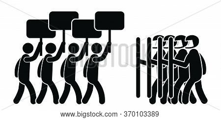Protesters With Riot Police. Pictogram Illustration Depicting Protesters With Signs And Riot Police