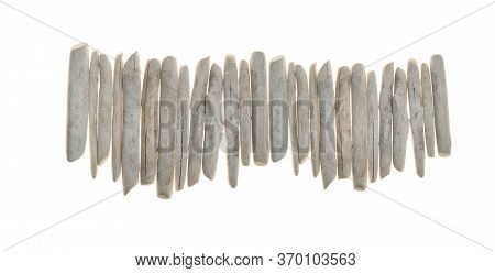 Driftwood. Row Of White Sea Snags.white Pieces Of Wood Isolated On White Background. Interior Decor