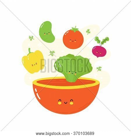 Cute Happy Smiling Vegetables Falling In Salad Bowl. Isolated On White Background. Vector Cartoon Ch