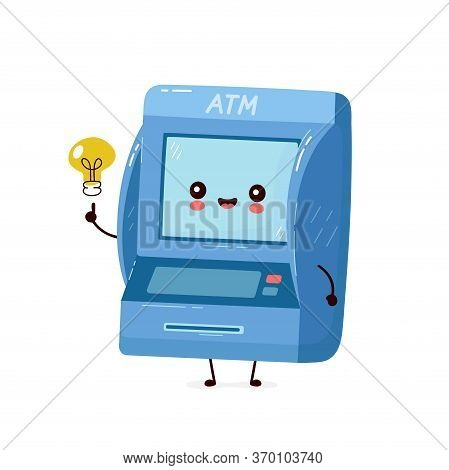 Cute Smiling Happy Atm With Light Bulb Have Idea. Vector Flat Cartoon Character Illustration.isolate