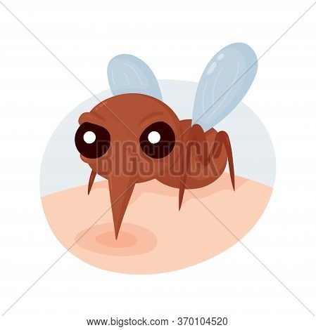 Angry Scary Mosquito Bite On Skin. Vector Flat Cartoon Character Illustration.isolated On White Back