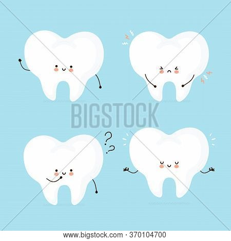 Cute Happy Human Tooth Character Set Collection. Isolated On White Background. Vector Cartoon Charac