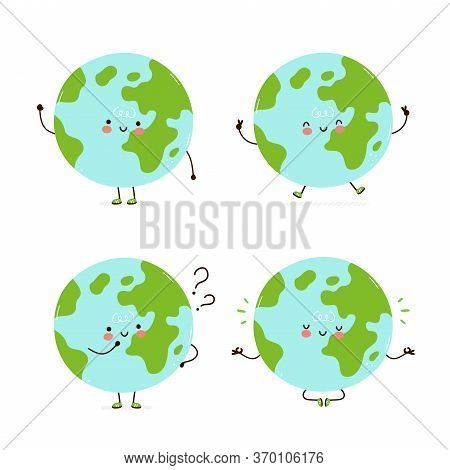 Cute Happy Earth Planet Character Set Collection. Isolated On White Background. Vector Cartoon Chara
