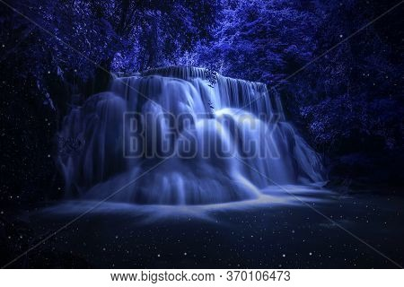 Beautiful Waterfall Nature Scenery Of Colorful At A Night Deep Tropical Fantasy Jungle