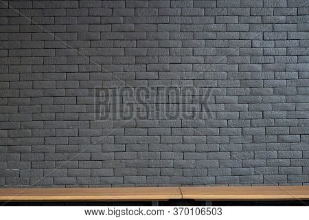 Empty Top Wood Shelves And Old Brick Wall Texture Background. Product Display Template