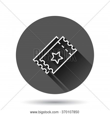 Cinema Ticket Icon In Flat Style. Admit One Coupon Entrance Vector Illustration On Black Round Backg