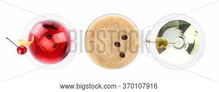 Set With Different Martini Cocktails On White Background, Top View. Banner Design