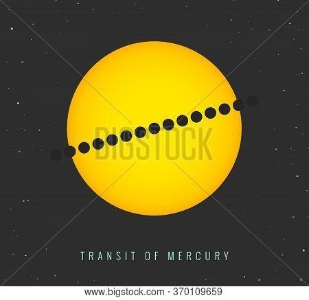 Transit Of Mercury 11 November 2019. Astronomical Phenomenon Vector Illustration