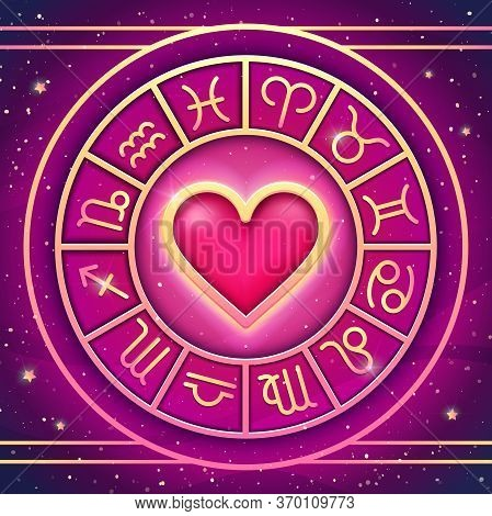 Zodiac Wheel. Vector Illustration Astrological Symbols. Love Horoscope.