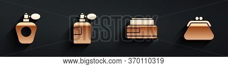 Set Perfume, Perfume, Cream Or Lotion Cosmetic Tube And Clutch Bag Icon With Long Shadow. Vector