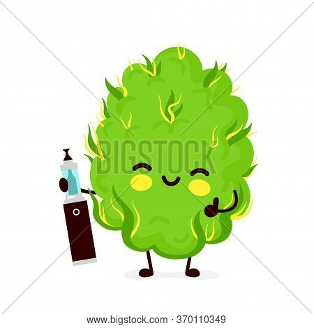 Cute Funny Smiling Happy Marijuana Weed Bud With Cannabis Vape.vector Flat Cartoon Character Illustr