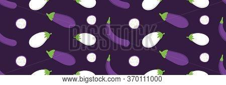 Cartoon Style Eggplants, Aubergines Wide Horozontal Vector Seamless Pattern Background.