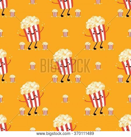 Cute Popcorn Bucket Character Smiling, Having Fun, Throwing Up Popcorn Flakes In The Air Seamless Pa
