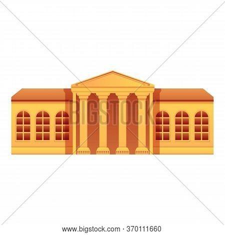 Public Museum Building Icon. Cartoon Of Public Museum Building Vector Icon For Web Design Isolated O
