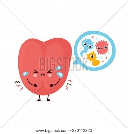 Cute Smiling Happy Human Tongue With Bacterias. Vector Flat Cartoon Character Illustration.isolated