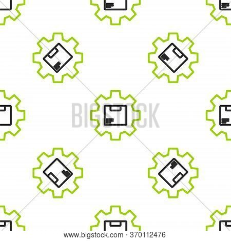 Line Gear Wheel With Package Box Icon Isolated Seamless Pattern On White Background. Box, Package, P