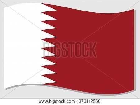 Waving Flag Of Qatar Vector Graphic. Waving Qatari Flag Illustration. Qatar Country Flag Wavin In Th