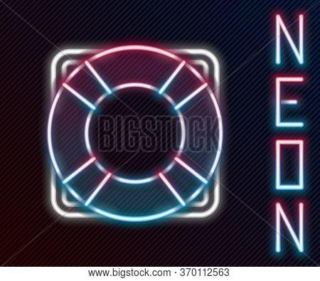 Glowing Neon Line Lifebuoy Icon Isolated On Black Background. Lifebelt Symbol. Colorful Outline Conc