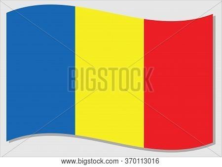 Waving Flag Of Romania Vector Graphic. Waving Romanian Flag Illustration. Romania Country Flag Wavin