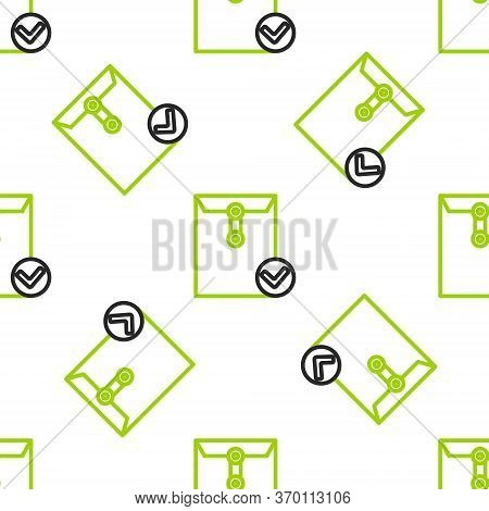Line Envelope And Check Mark Icon Isolated Seamless Pattern On White Background. Successful E-mail D