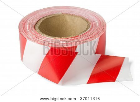 Roll of red white barrier tape isolated on white poster