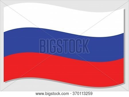 Waving Flag Of Russia Vector Graphic. Waving Russian Flag Illustration. Russia Country Flag Wavin In